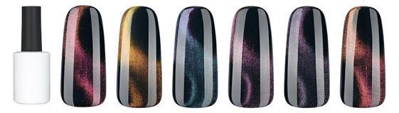 Vernis à ongles dans la couleur différente de mode La laque colorée de clou du plot réflectorisé 3D dans les astuces a isolé le f Image stock