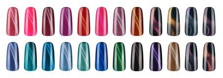 Vernis à ongles dans la couleur différente de mode Les astuces colorées de laque de clou du plot réflectorisé 3D et la bouteille  Photographie stock libre de droits