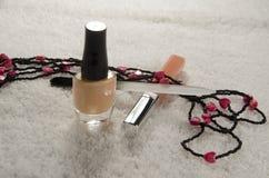 vernis à ongles, dossier et lustre de lèvre Photographie stock libre de droits