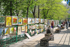 Vernissage. ROSTOV-ON-DON, RUSSIA - April 26.2010: Exhibition and sale of paintings in Gorky Park Royalty Free Stock Photos