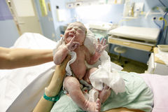 Vernix covered newborn after delivery Stock Photos