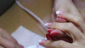 Verniz para as unhas do rosa e o branco após o tratamento de mãos Ideia do close-up do processo de pintura fêmea do prego video estoque