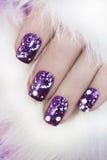 Verniz para as unhas lilás Fotografia de Stock