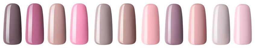 Verniz para as unhas na cor pastel colorido da forma A laca colorida do prego nas pontas isolou o fundo branco ilustração do vetor