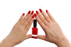 Verniz para as unhas vermelho Imagem de Stock Royalty Free