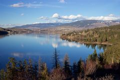 Vernon, British Columbia, from Rattlesnake Point, Kalamalka Lake Provincial Park. A view of Vernon, B.C., Canada in the Okanagan Valley northward along Kalamalka stock photography