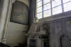 Funerary monument of Marie Maignart in Collegiate Church Notre-Dame in Vernon. Normandy, France royalty free stock photo