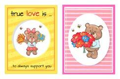 Vero di amore supporto Teddy Cheerleader Bouquet sempre royalty illustrazione gratis