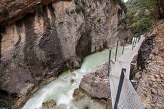 Vero River gorges. A gangway over the Vero River, Alquezar (Spain Stock Photos