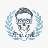 Vero vettore del cranio del geek con i vetri dei pantaloni a vita bassa Immagini Stock