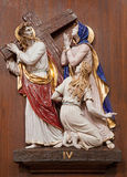 Veroan - Jesus and his Mother on the cross way. One part of ceramic cross way from st. Nicholas church Stock Images