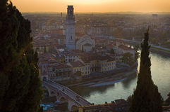 Verona. Sunset over historical city of Verona, Italy Royalty Free Stock Photo