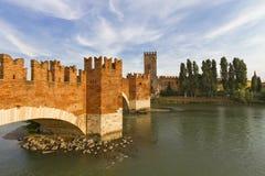 Verona. Ponte Scaliero and Castelvecchio across Adige River stock photo