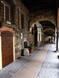 Verona. Under the arcades of Verona, in the alleys of the old town Royalty Free Stock Images