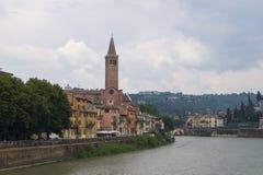 Verona - Adige flod Royaltyfri Bild