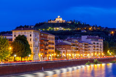 Verona. Adige river embankment at night. Royalty Free Stock Images