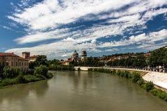 Verona. Adige river, summer, July, sunny day after rain Stock Photography