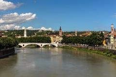 Verona. Adige river, summer, July, sunny day after rain Stock Photo