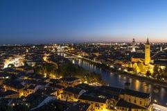 Verona alla notte Veneto Italia Europa Immagini Stock Libere da Diritti