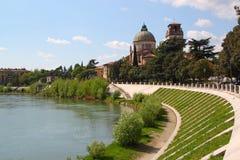 Verona along the river Adige, Italy. View of San Giorgio Church in Verona, Italy, on the banks of the Adige river stock photo