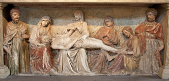 Verona - Anointment of Jesus in the tomb from San Fermo Maggiore Royalty Free Stock Image