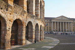 Verona - Arena and Comune di Verona. Building Royalty Free Stock Photography