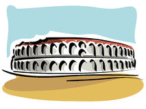 The Verona Arena. Illustration of the Verona Arena, Roman Amphitheatre stock illustration