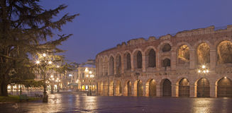 Verona - Arena and Piazza Bra in dusk Stock Photos