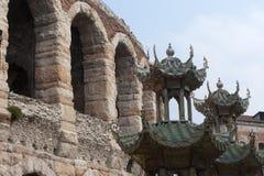 Verona, Arena, römisches Theater und Theatersceno Stockbilder