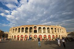 Verona, Italy. The Verona Arena at sunset, a Roman amphitheatre in Piazza Bra in Verona, Italy, built in the first century Royalty Free Stock Photos