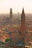 Verona bij zonsondergang, Italië. Royalty-vrije Stock Afbeeldingen