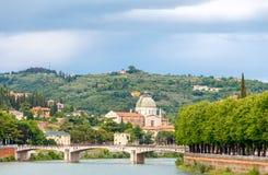 Verona. Bridge across the river Adige Stock Photo