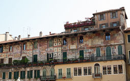 Verona building with artistic design. A building in Verona Italy with artistic detailed design painted on the front Stock Photos