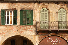 Verona cafe. Cafe in the beautiful old building, city of Verona, Italy Stock Photos