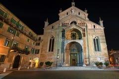 Verona Cathedral alla notte - Veneto Italia Fotografia Stock Libera da Diritti