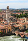 Verona cathedral  and ancient Stone Bridge Royalty Free Stock Photo