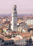 Verona Cathedral with beautiful marble belfry. Stock Photography