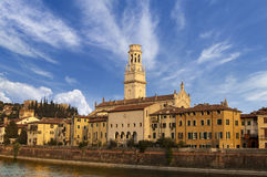 Verona Cathedral and Castel San Pietro - Italy Stock Photography