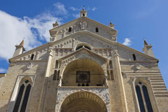 Verona Cathedral facade close up shot over blue sky Royalty Free Stock Photos