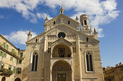 Verona Cathedral facade over blue sky with white clouds Royalty Free Stock Images