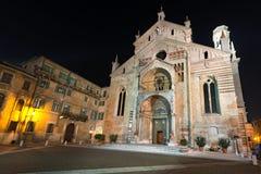 Verona Cathedral at Night - Veneto Italy Royalty Free Stock Photo