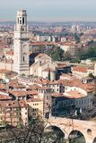 Verona Cathedral and stone bridge aerial view. Royalty Free Stock Image