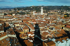 Verona city aerial view to Dolomite Alps Royalty Free Stock Image
