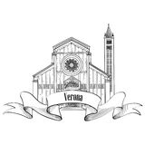 Verona city label. travel Italy icon. Famous italian building sk Royalty Free Stock Photo