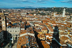 Verona city aerial view to Dolomite Alps in winter Royalty Free Stock Photo