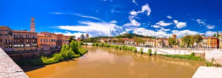 Verona cityscape from Adige river bridge panoramic view. Veneto region of Italy stock image