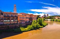 Verona cityscape from Adige river bridge panoramic view Stock Photos