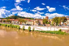 Verona cityscape from Adige river bridge panoramic view Stock Photography