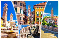Verona colorful tourist landmarks postcard Royalty Free Stock Photo