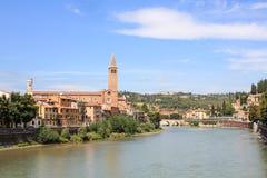 Verona con il fiume Italia Immagini Stock